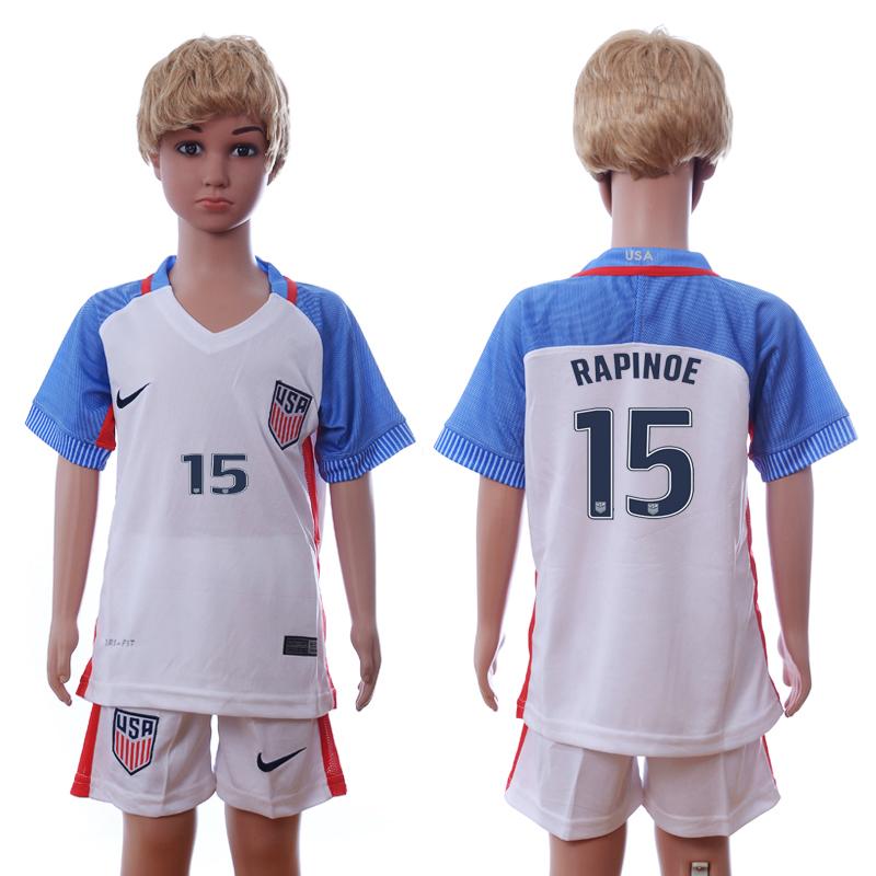 USA 15 RAPINOE Home Youth 2016 Copa America Centenario Soccer Jersey