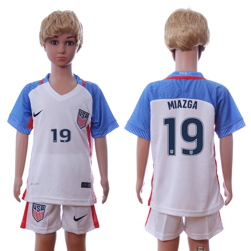 USA 19 MIAZGA Home Youth 2016 Copa America Centenario Soccer Jersey