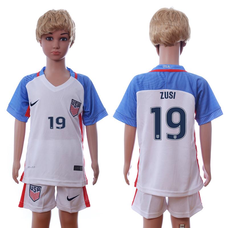 USA 19 ZUSI Home Youth 2016 Copa America Centenario Soccer Jersey