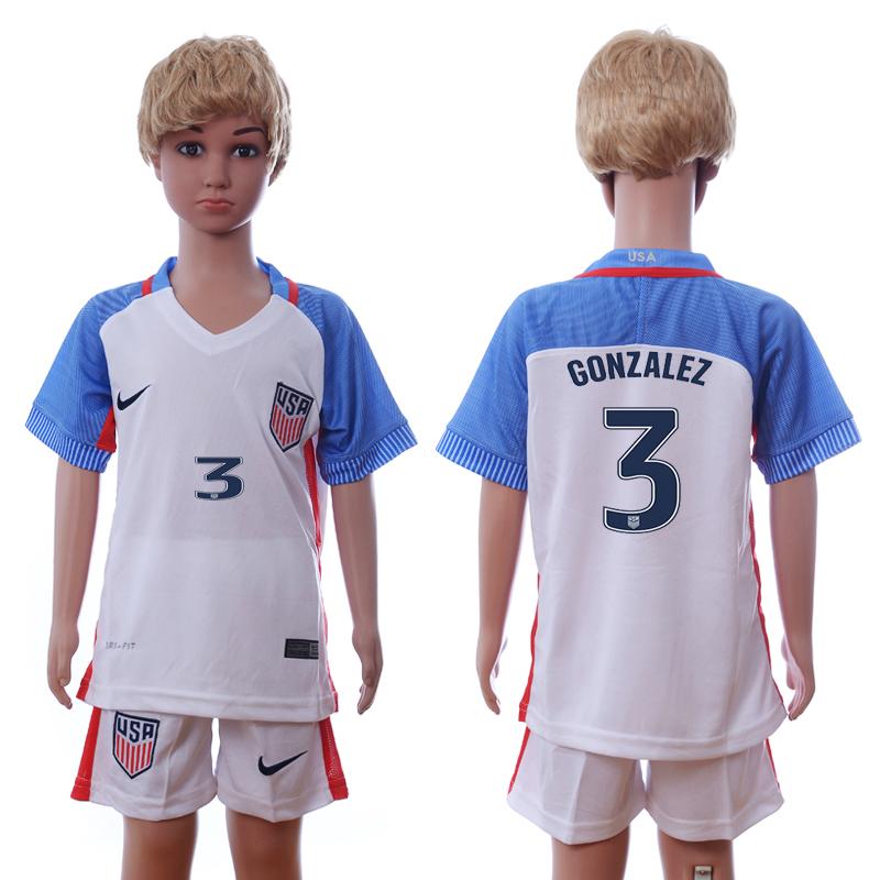 USA 3 GONZALEZ Home Youth 2016 Copa America Centenario Soccer Jersey