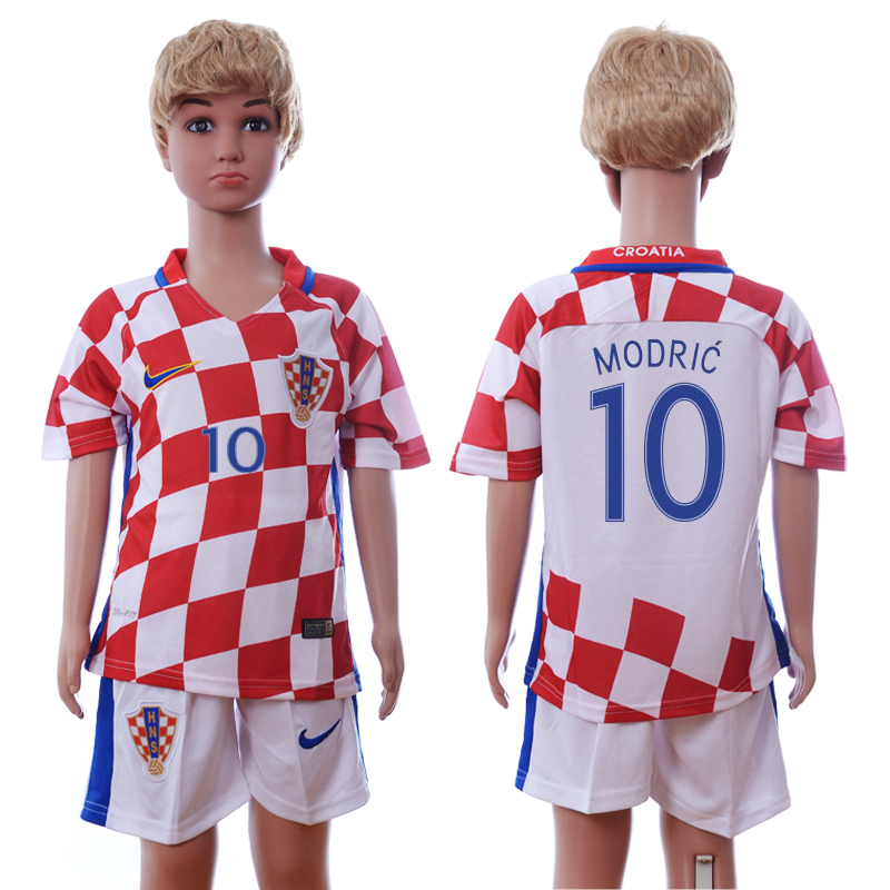 Croatia 10 MODRIC Home Euro 2016 Youth Soccer Jersey