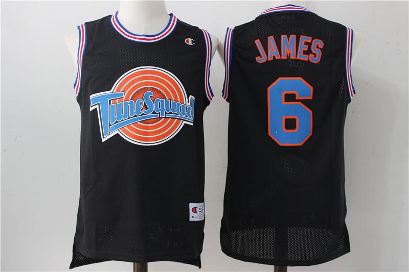 Tune Squad 6 Lebron James Black Stitched Jersey