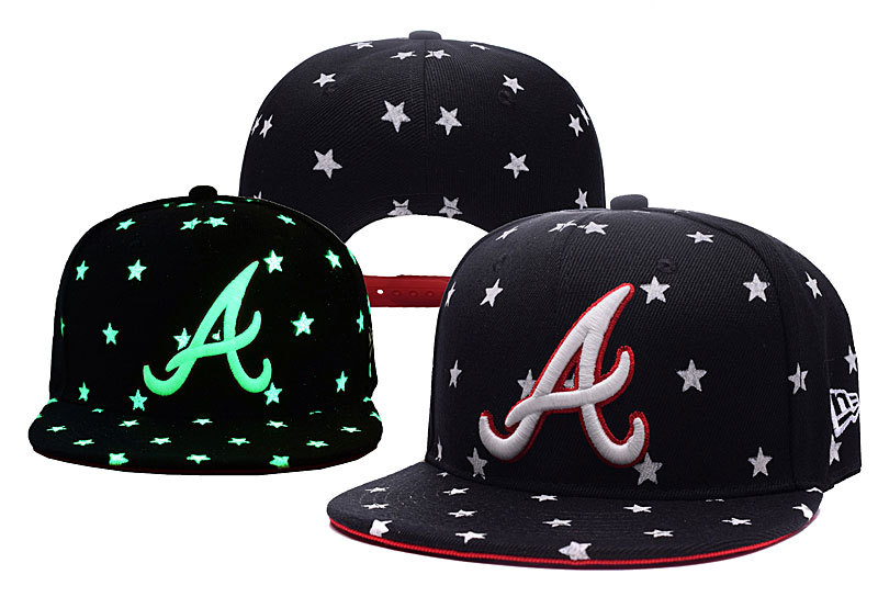 Braves Team Logo Black Adjustable Luminous Hat YD
