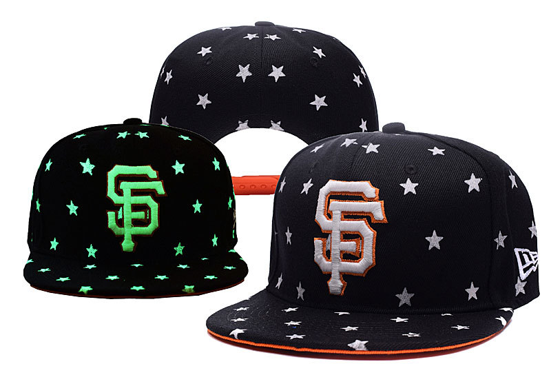 Giants Team Logo Black Adjustable Luminous Hat YD