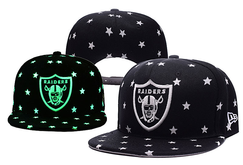 Raiders Team Logo Black Adjustable Luminous Hat YD