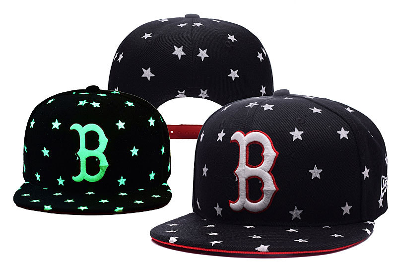 Red Sox Team Logo Black Adjustable Luminous Hat YD