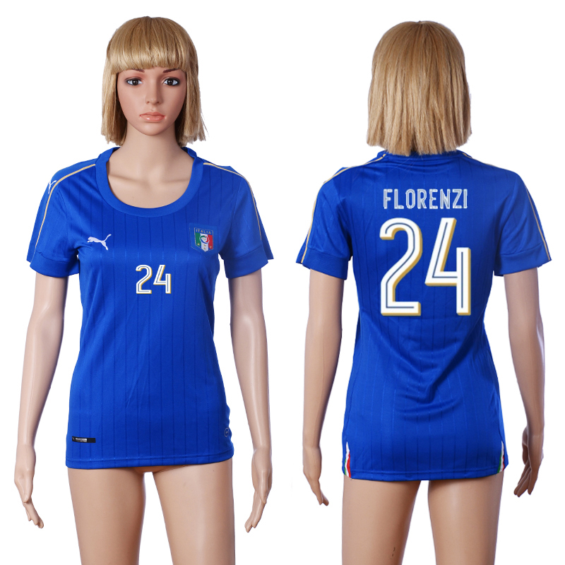 Italy 24 FLORENZI Home Women UEFA Euro 2016 Soccer Jersey