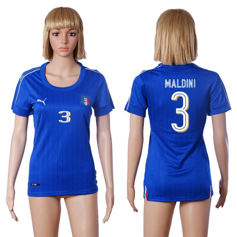 Italy 3 MALDINI Home Women UEFA Euro 2016 Soccer Jersey