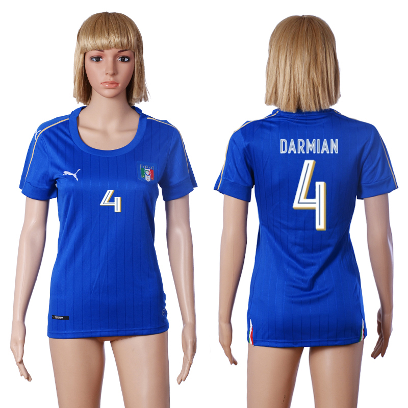Italy 4 DARMIAN Home Women UEFA Euro 2016 Soccer Jersey