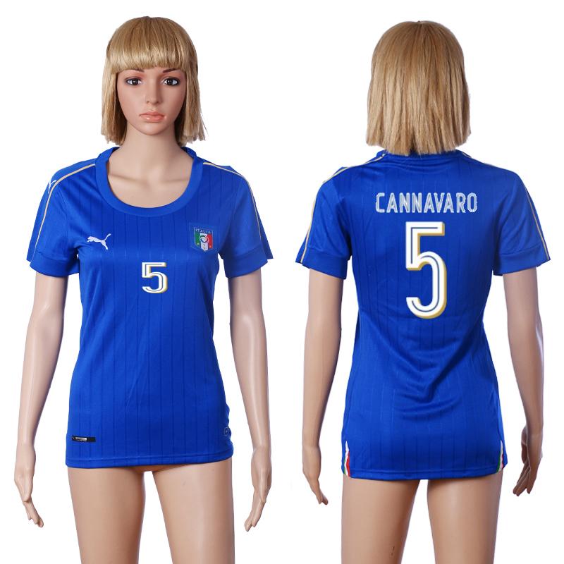 Italy 5 CANNAVARO Home Women UEFA Euro 2016 Soccer Jersey