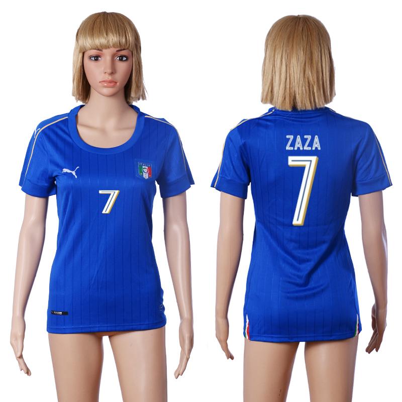 Italy 7 ZAZA Home Women UEFA Euro 2016 Soccer Jersey