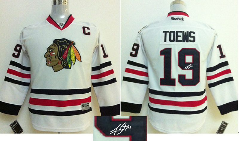Blackhawks 19 Toews White Signature Edition Youth Jerseys