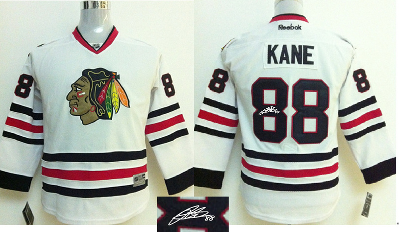 Blackhawks 88 Kane White Signature Edition Youth Jerseys