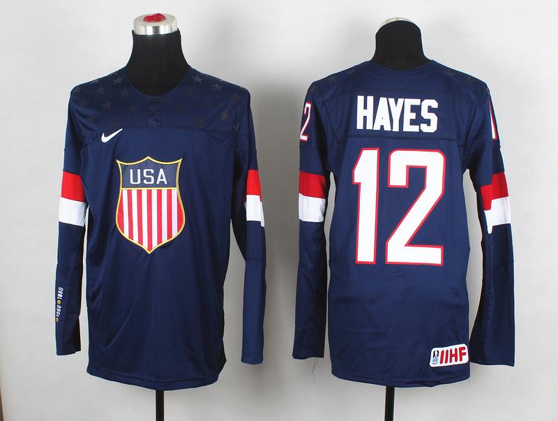 USA 12 Hayes Blue 2014 Olympics Jerseys