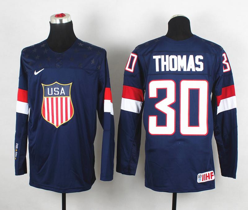 USA 30 Thomas Blue 2014 Olympics Jerseys