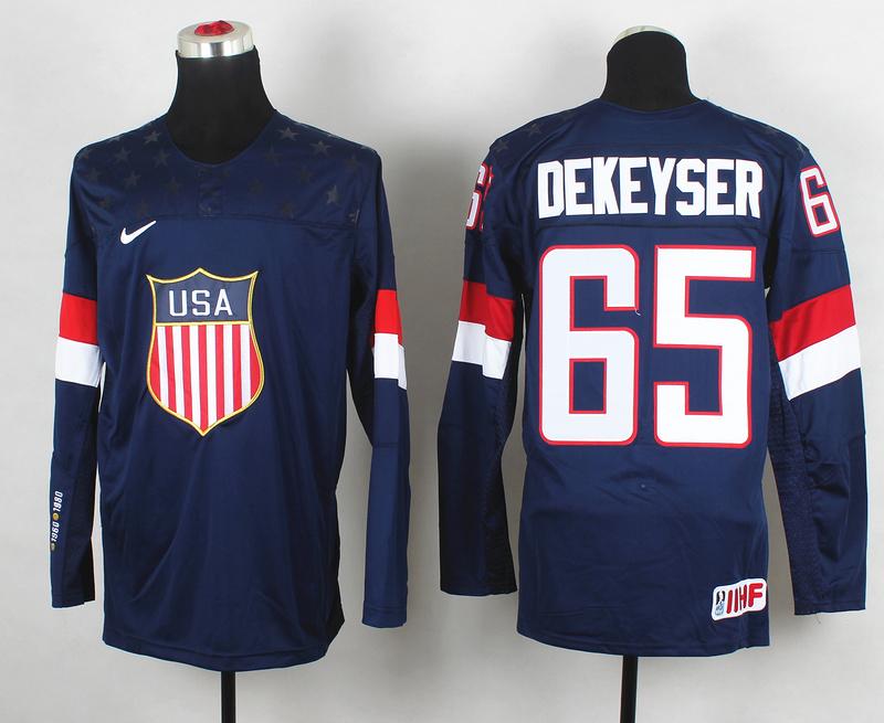 USA 65 Dekeyser Blue 2014 Olympics Jerseys