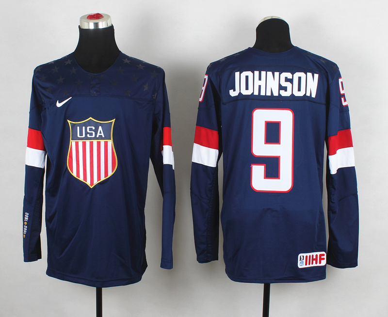 USA 9 Johnson Blue 2014 Olympics Jerseys
