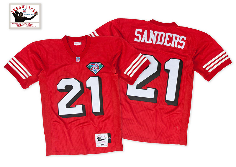 49ers 21 Sanders Red 75th Throwback Jerseys
