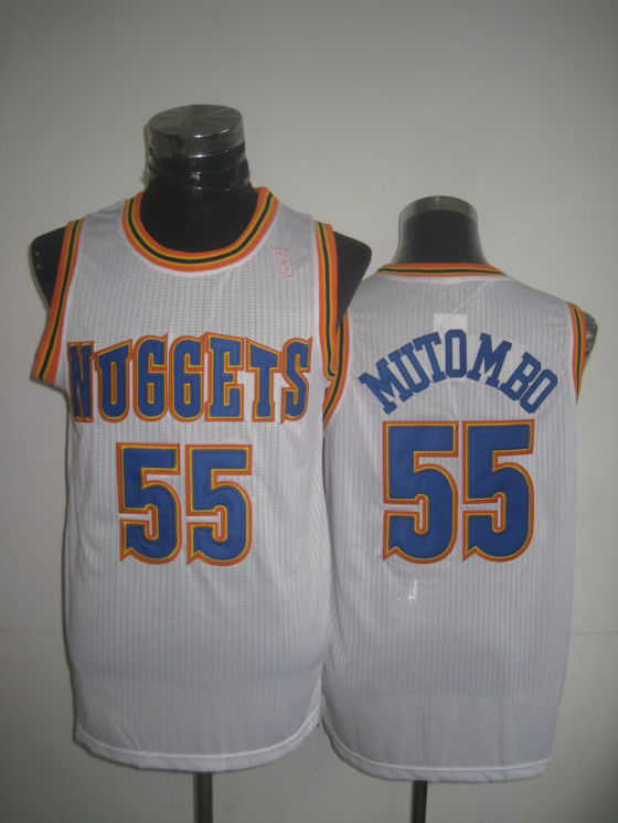 Nuggets 55 Mutombo White New Revolution 30 Jerseys