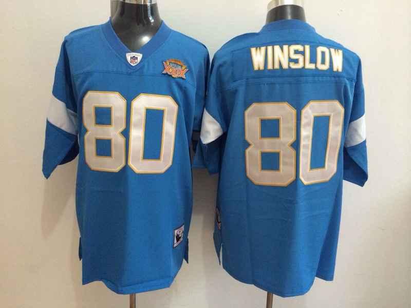 Chargers 80 Winslow Blue Mitchell&Ness Jerseys