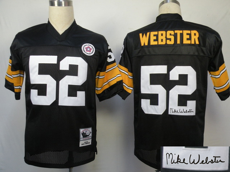 Steelers 52 Webster Black Throwback Signature Edition Jerseys