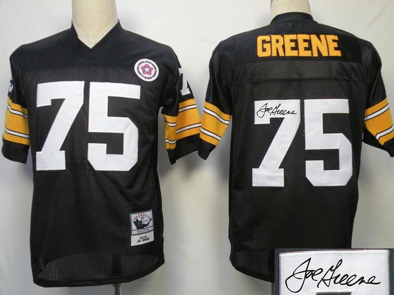 Steelers 75 Greene Black Throwback Signature Edition Jerseys