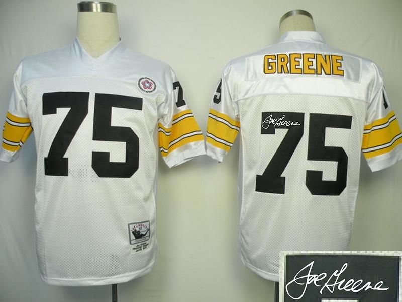 Steelers 75 Greene White Throwback Signature Edition Jerseys