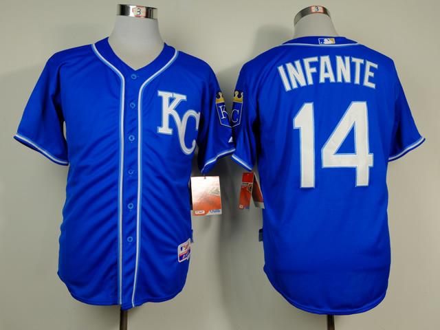 Royals 14 Infante Blue Alternate 2 Cool Base Jerseys