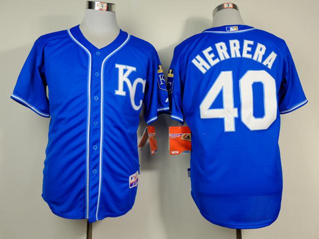 Royals 40 Herrera Blue Alternate 2 Cool Base Jerseys