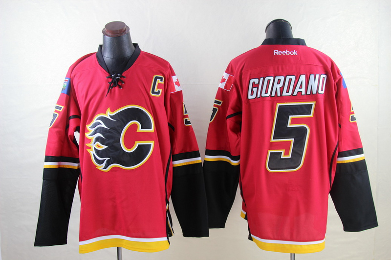 Flames 5 Giordano Red Reebok Jerseys