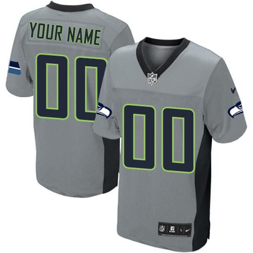 Nike Seattle Seahawks Customized Elite Grey Shadow Jerseys