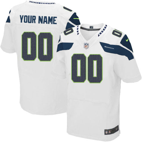 Nike Seattle Seahawks Customized Elite White Jerseys