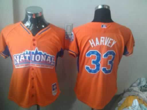 Mets 33 Harvey Orange 2013 All Star Women Jerseys