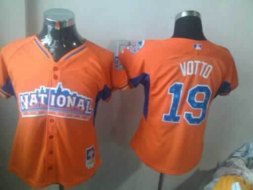 Reds 19 Votto Orange 2013 All Star Women Jerseys