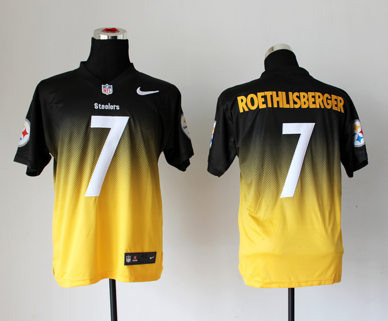 Nike Steelers 7 Roethlisberger Black And Gold Drift II Elite Jerseys