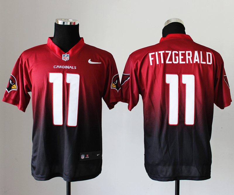Nike Cardinals 11 Fitzgerald Red And Black Drift II Elite Jerseys