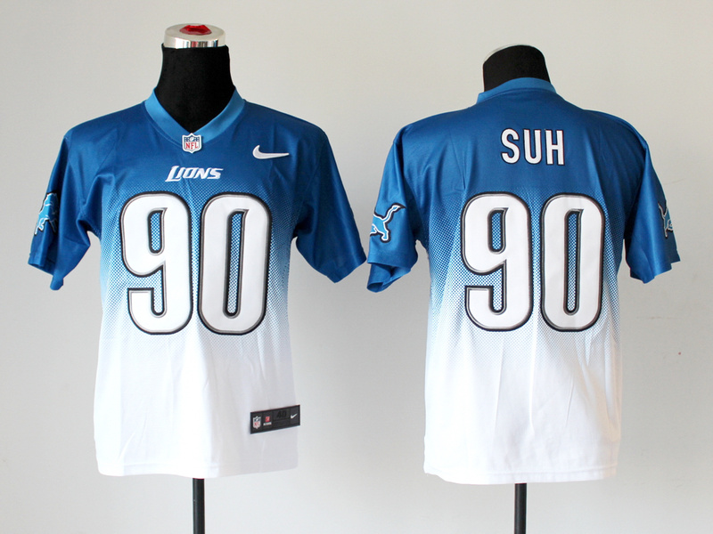 Nike Lions 90 Suh Blue And White Drift II Elite Jerseys