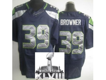 Nike Seahawks 39 Brandon Browner Elite Blue 2014 Super Bowl XLVIII Jerseys