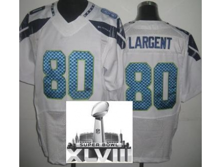 Nike Seahawks 80 Steve Largent White Elite 2014 Super Bowl XLVIII Jerseys