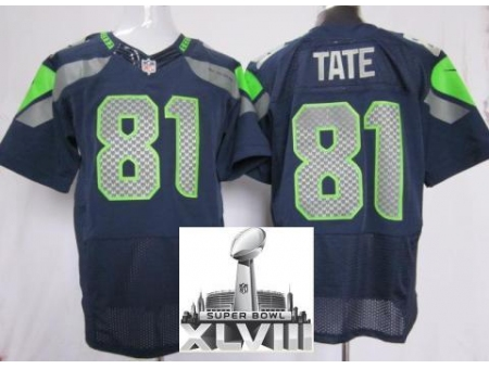 Nike Seahawks 81 Golden Tate Blue Elite 2014 Super Bowl XLVIII Jerseys