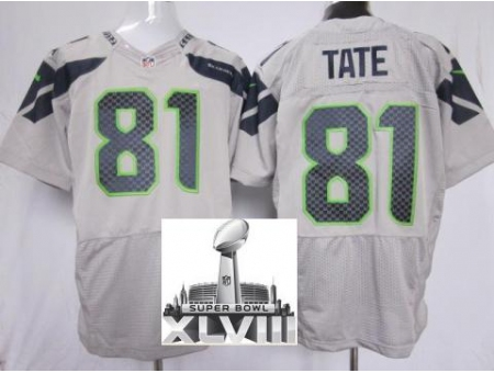 Nike Seahawks 81 Golden Tate Grey Elite 2014 Super Bowl XLVIII Jerseys