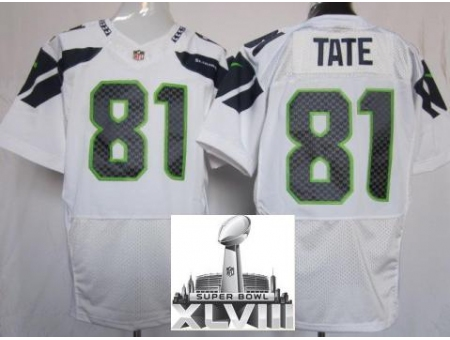 Nike Seahawks 81 Golden Tate White Elite 2014 Super Bowl XLVIII Jerseys