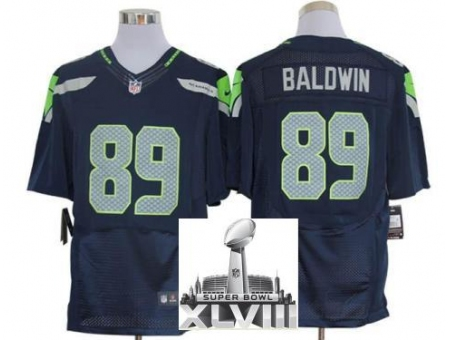Nike Seahawks 89 Doug Baldwin Blue Elite 2014 Super Bowl XLVIII Jerseys
