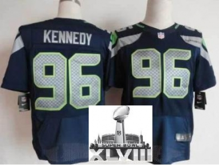 Nike Seahawks 96 Kennedy Blue Elite 2014 Super Bowl XLVIII Jerseys