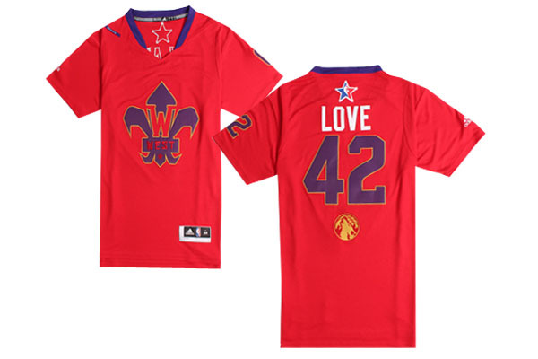 2014 All Star West 42 Love Red Swingman Jerseys