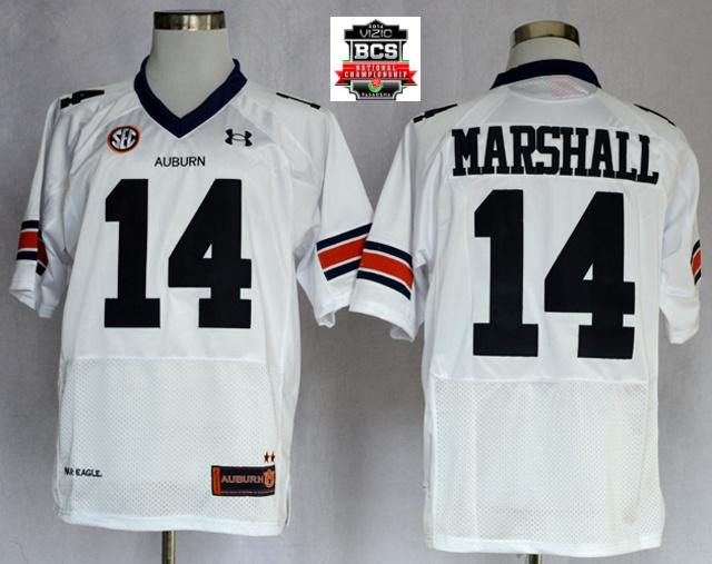 Auburn Tigers Nick Marshall 14 NCAA Football Authentic White Jerseys With 2014 BCS Patch