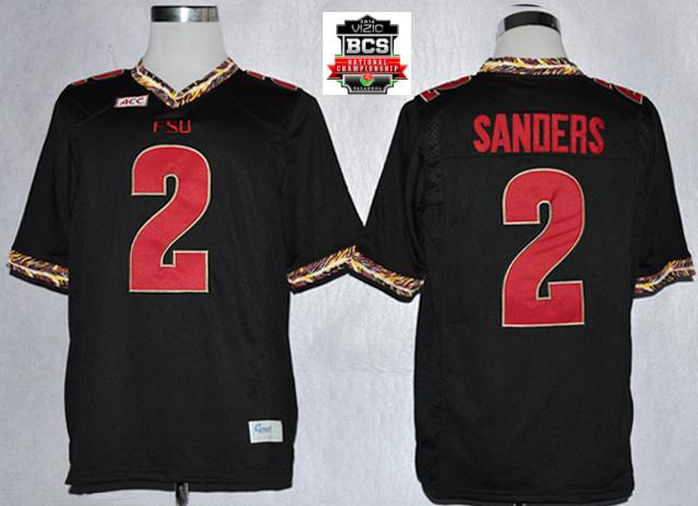 Florida State Seminoles (FSU) Deion Sanders 2 College Football Black Jerseys With 2014 BCS Patch