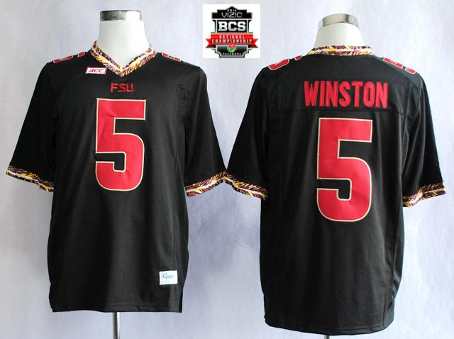Florida State Seminoles (FSU) Jameis Winston 5 College Football Black Jerseys With 2014 BCS Patch