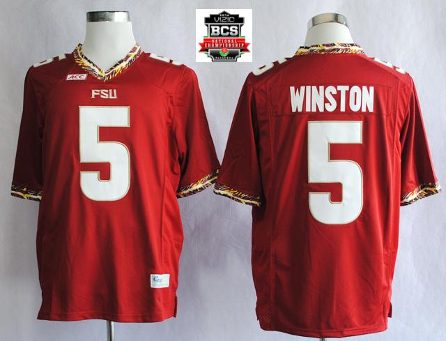 Florida State Seminoles (FSU) Jameis Winston 5 College Football Red Jerseys With 2014 BCS Patch