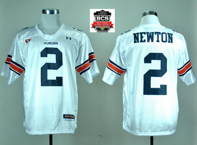 Under Armour Auburn Tigers Cameron Newton 2 White College Football Jersey With 2014 BCS Patch